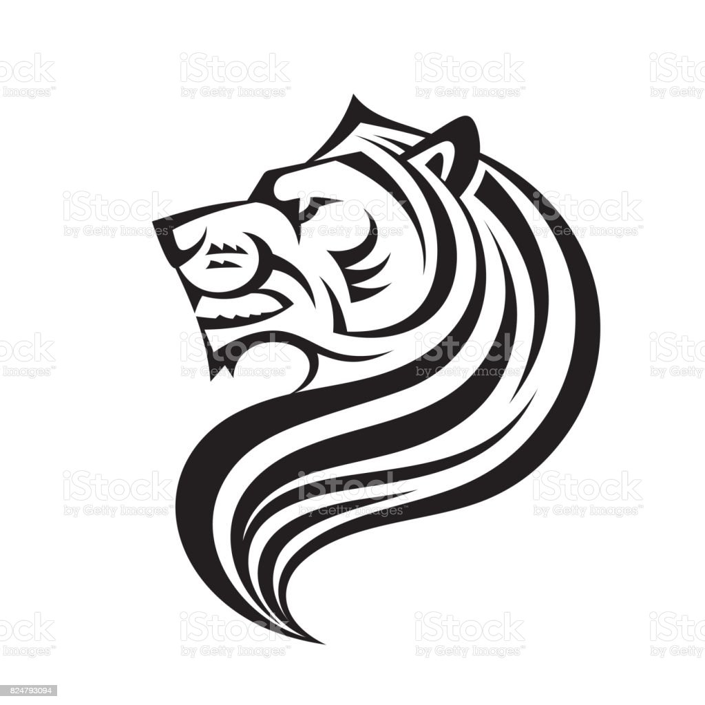 lion head in profile view vector icon template creative illustration animal wild cat face