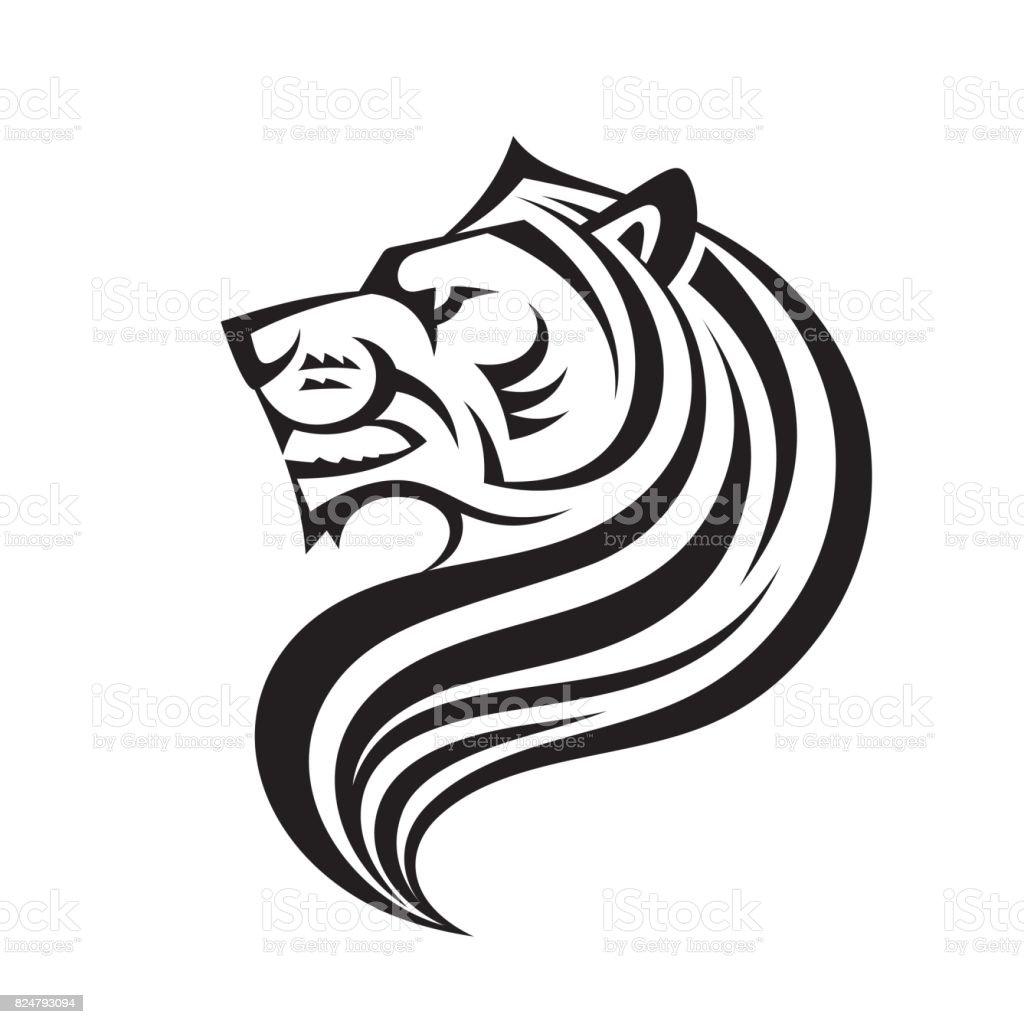Tête De Lion En Vue De Profil Vector Icon Modèle