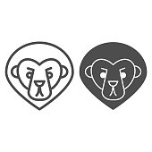 Lion head line and solid icon. Silhouette of wild animal, minimalistic style. Animals vector design concept, outline style pictogram on white background, use for web and app. Eps 10