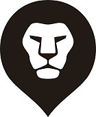 lion head logo icon, vector illustration
