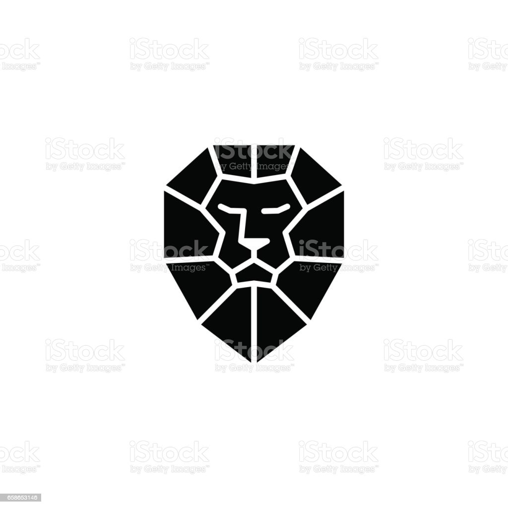 Lion head logo icon vector vector art illustration