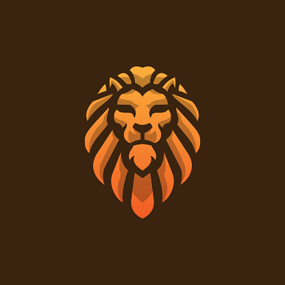 Lion Head Logo Template, Lion Strong Logo Golden Royal Premium Elegant Design on dark Brown Background