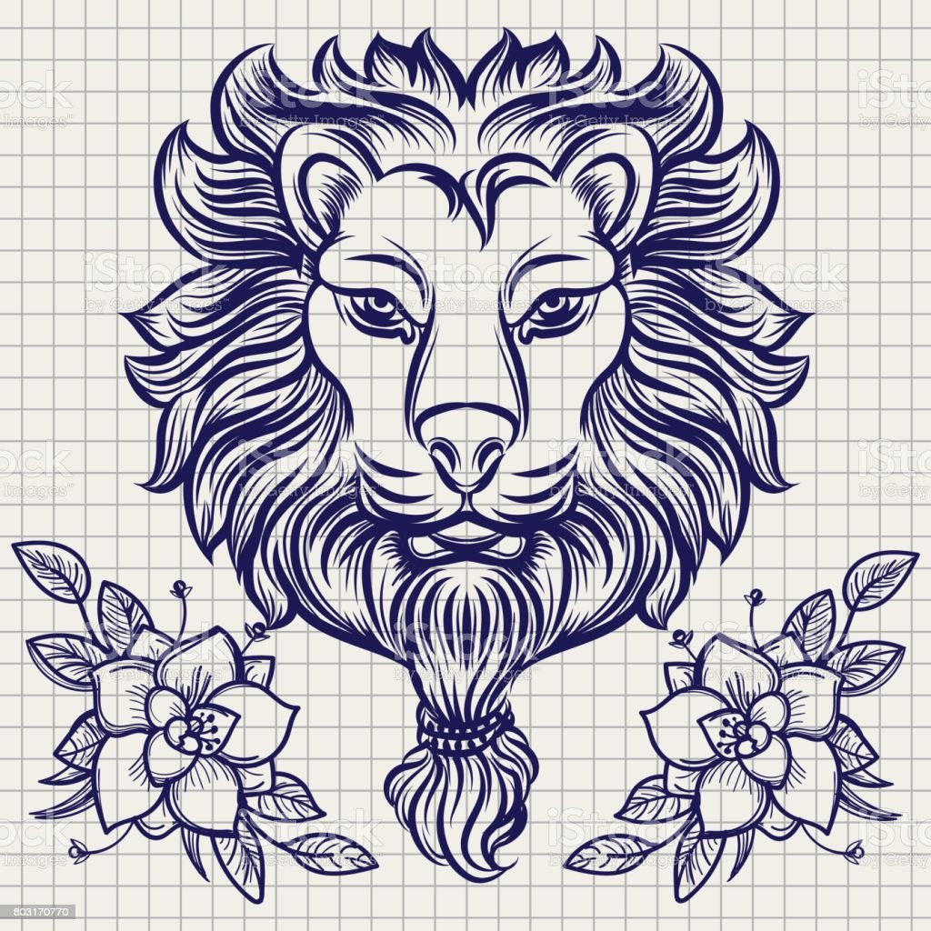Lion head sketch with flowers vector art illustration