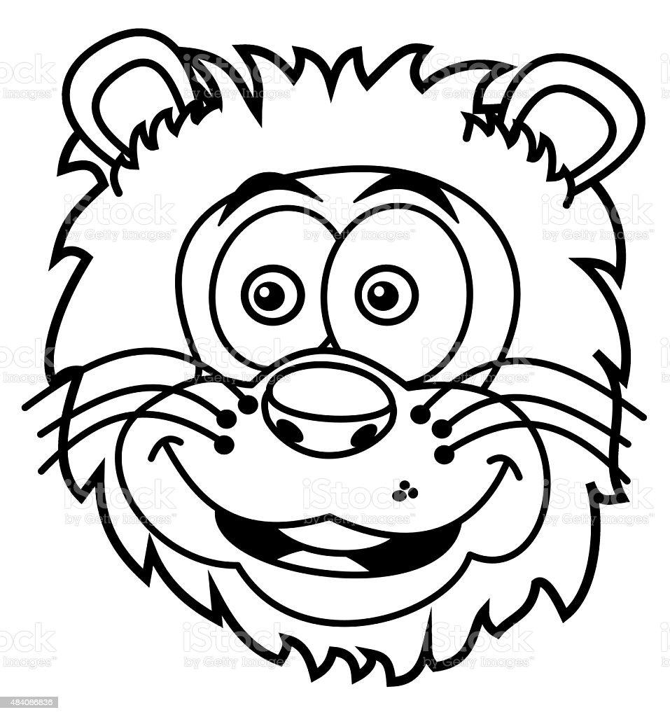 Ilustración de Sonriendo Para Colorear Cabeza De León y más banco de ...