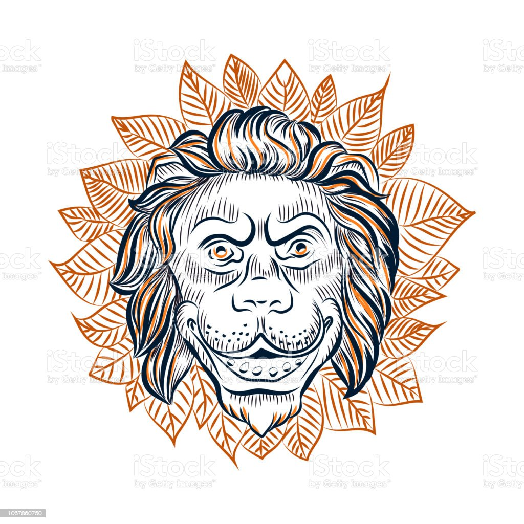 Lion head surrounded with leaves vector sketch. vector art illustration