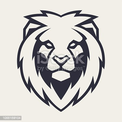 Lion looking danger. Lion head icon. Lion vector icon template.