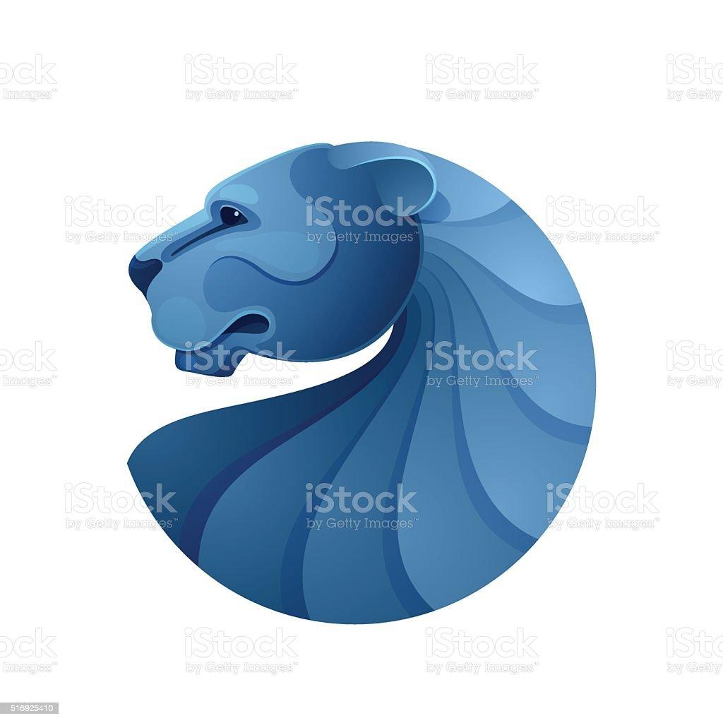Lion head volume vector icon. vector art illustration