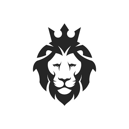 Lion head with crown.  King lion on white background