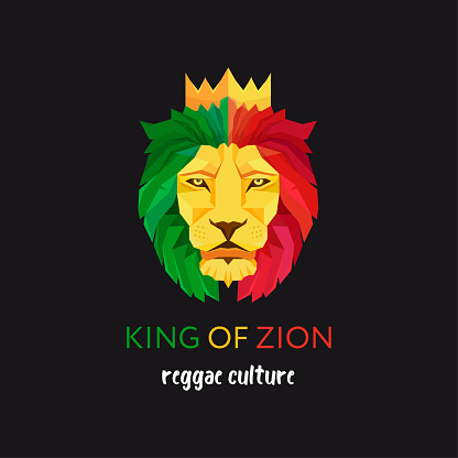 Lion head with crown. King of Zion. Symbol of the Rastafarian subculture. Flag colors of Jamaica.