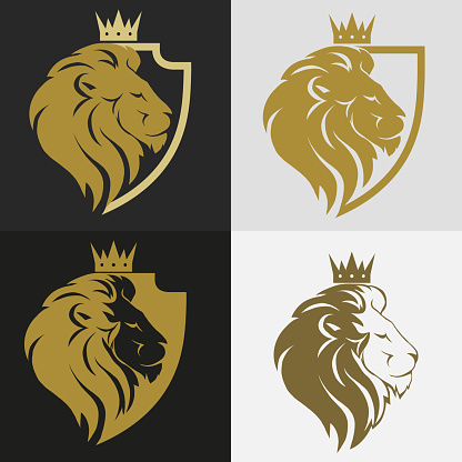Lion Head With Crown Logo Stock Illustration - Download Image Now