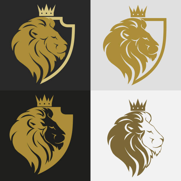 lion head with crown logo - lion stock illustrations, clip art, cartoons, & icons