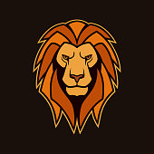 Lion head with mane. Stylized vector mascot of the Lion king of animals