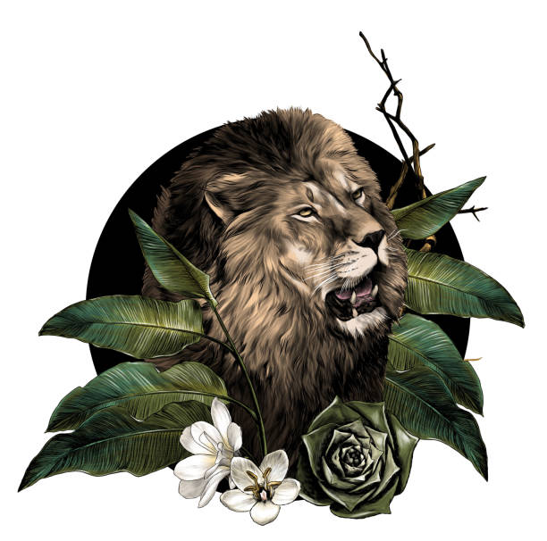 lion head with open mouth surrounded by tropical plants leaves and flowers composition – artystyczna grafika wektorowa