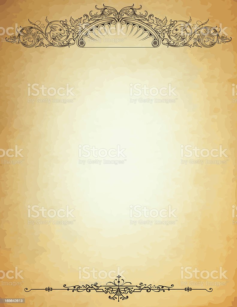 lion header on parchment engraved stationery stock vector art more