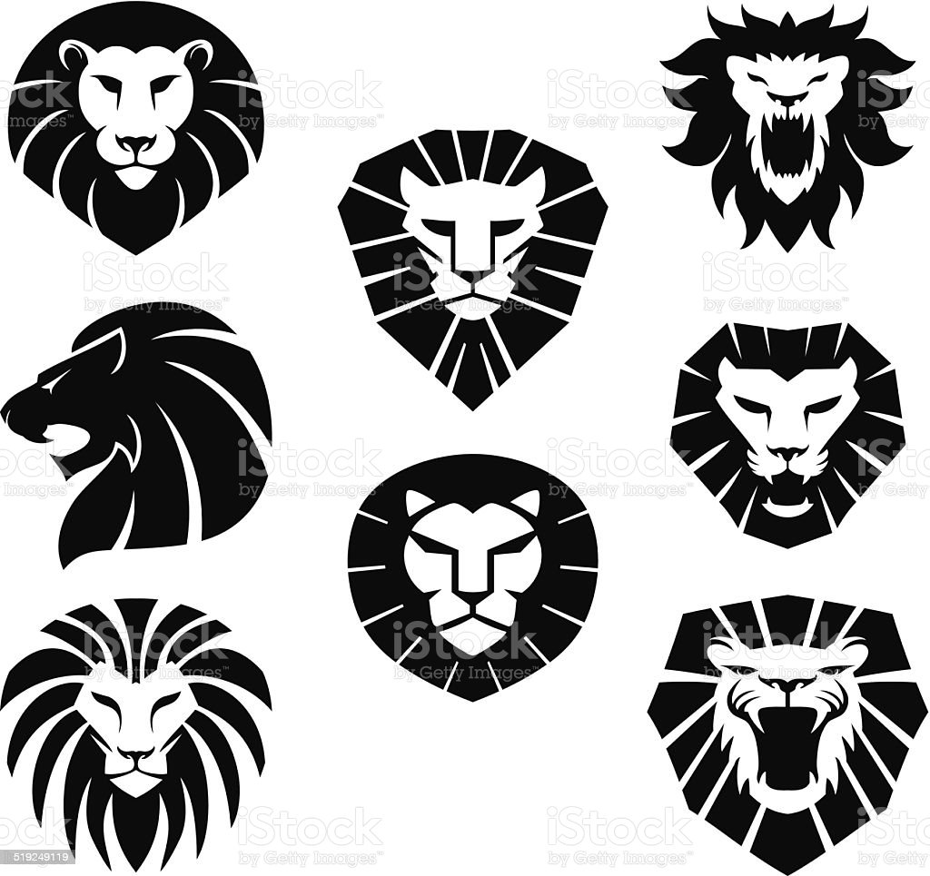 Lion heads vector art illustration