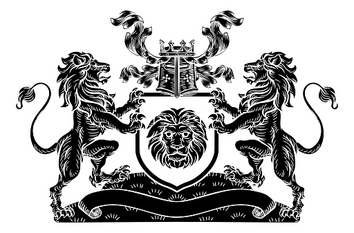 Lion Heraldic Coat of Arms Shield Crest Emblem