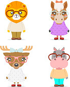 Lion horse deer hippo cute animal girl boy cubs mascot cartoon icons set flat design vector illustration