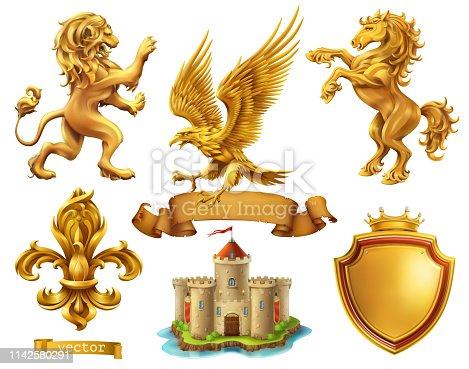 Lion, horse, eagle, lily. Golden heraldic elements. 3d vector icon set