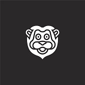 lion icon. Filled lion icon for website design and mobile, app development. lion icon from filled animal avatars collection isolated on black background.