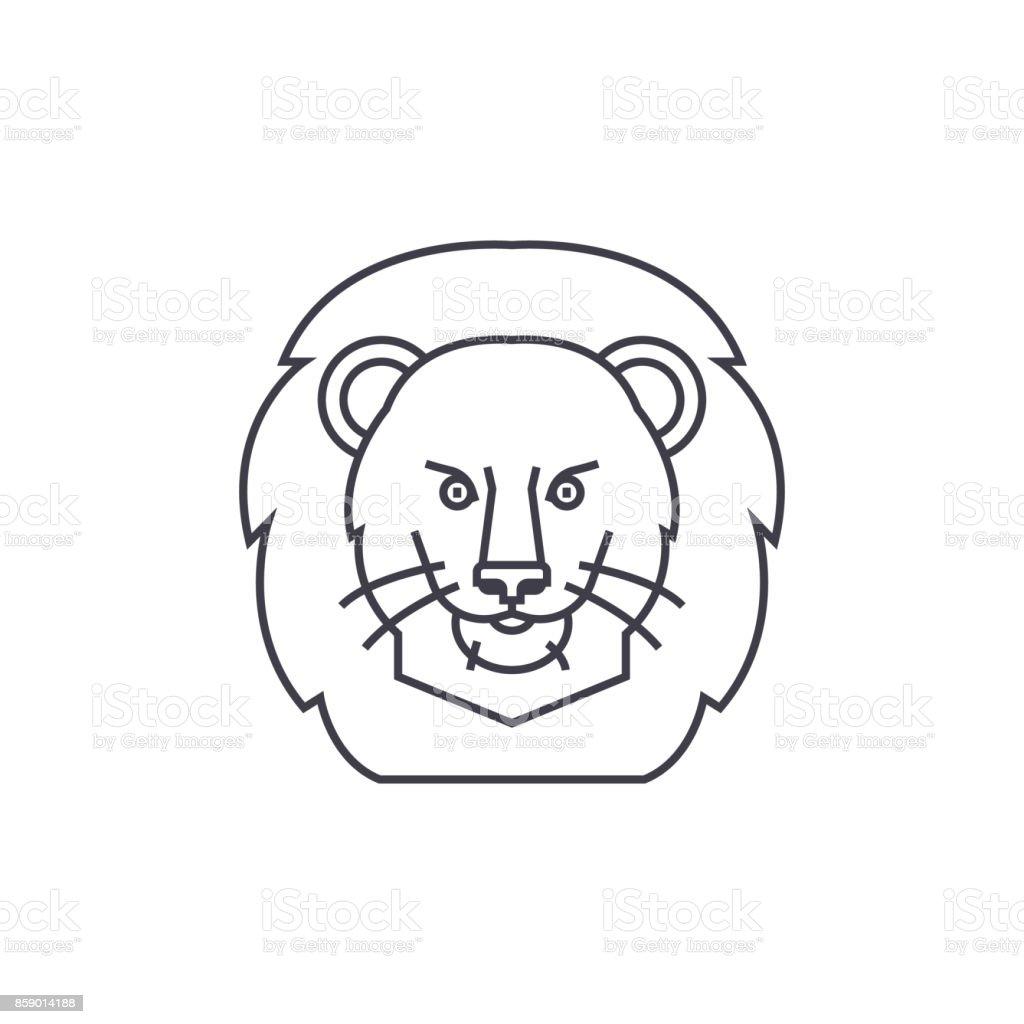 lion illustration head vector line icon, sign, illustration on background, editable strokes vector art illustration