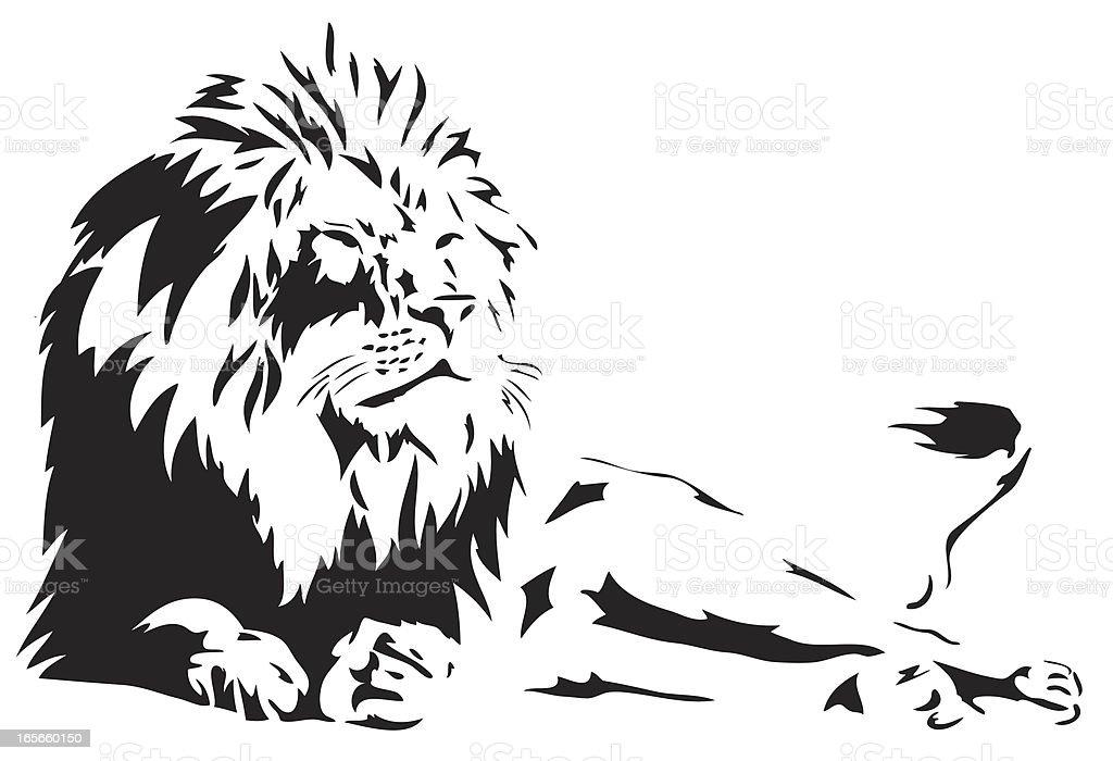 Lion illustration in black lines royalty-free stock vector art
