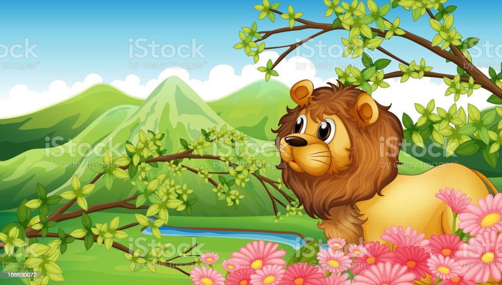 Lion in a mountain view royalty-free stock vector art