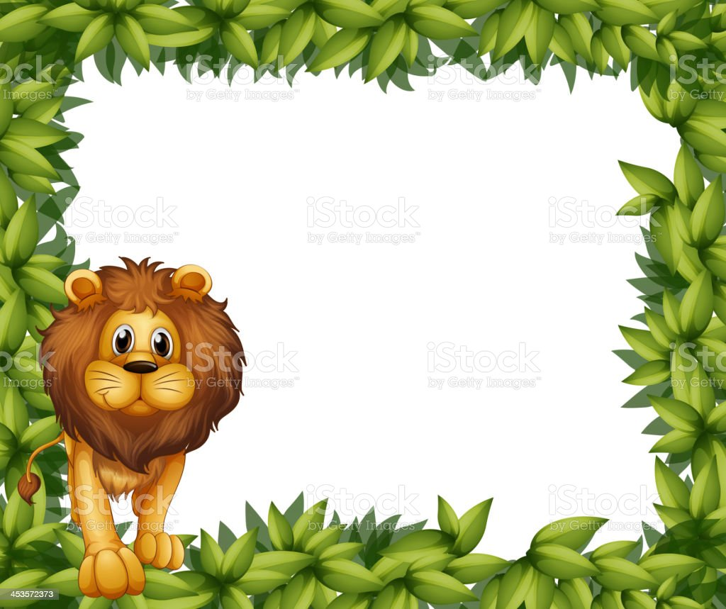 Lion in front of an empty leafy frame