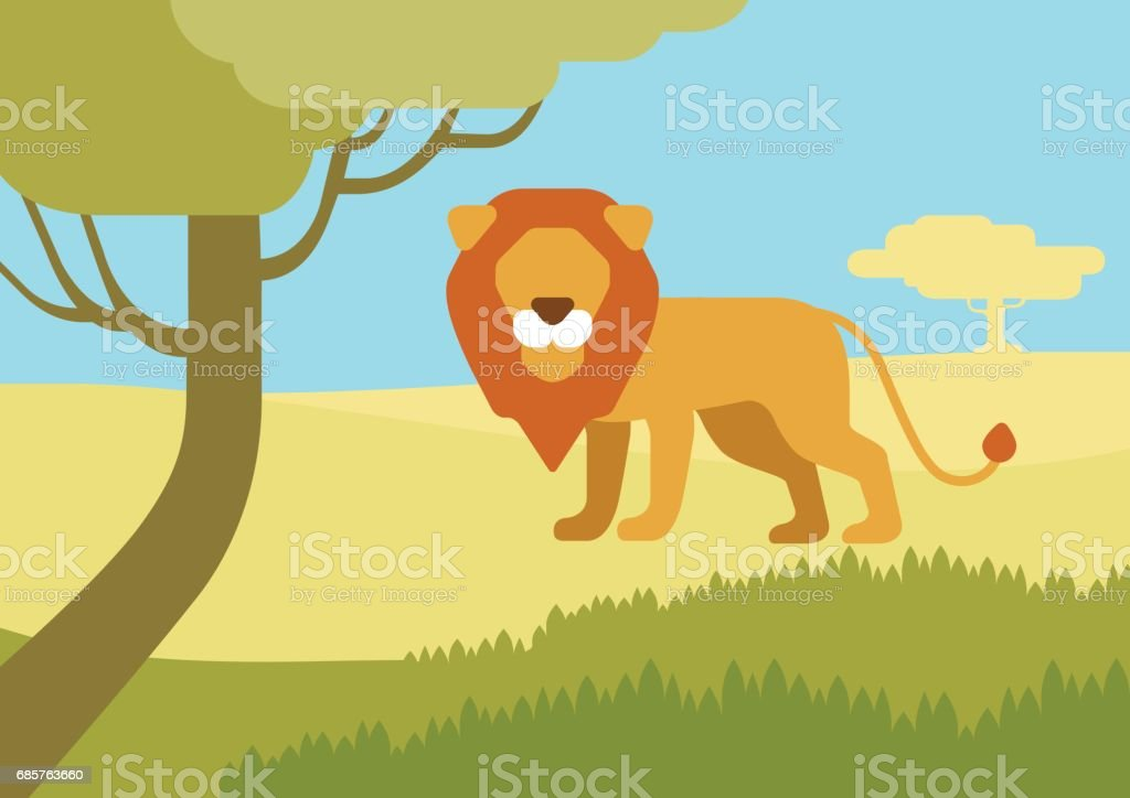 Lion in habitat background flat design cartoon vector wild animals. Flat zoo nature children collection. ロイヤリティフリーlion in habitat background flat design cartoon vector wild animals flat zoo nature children collection - イラストレーションのベクターアート素材や画像を多数ご用意