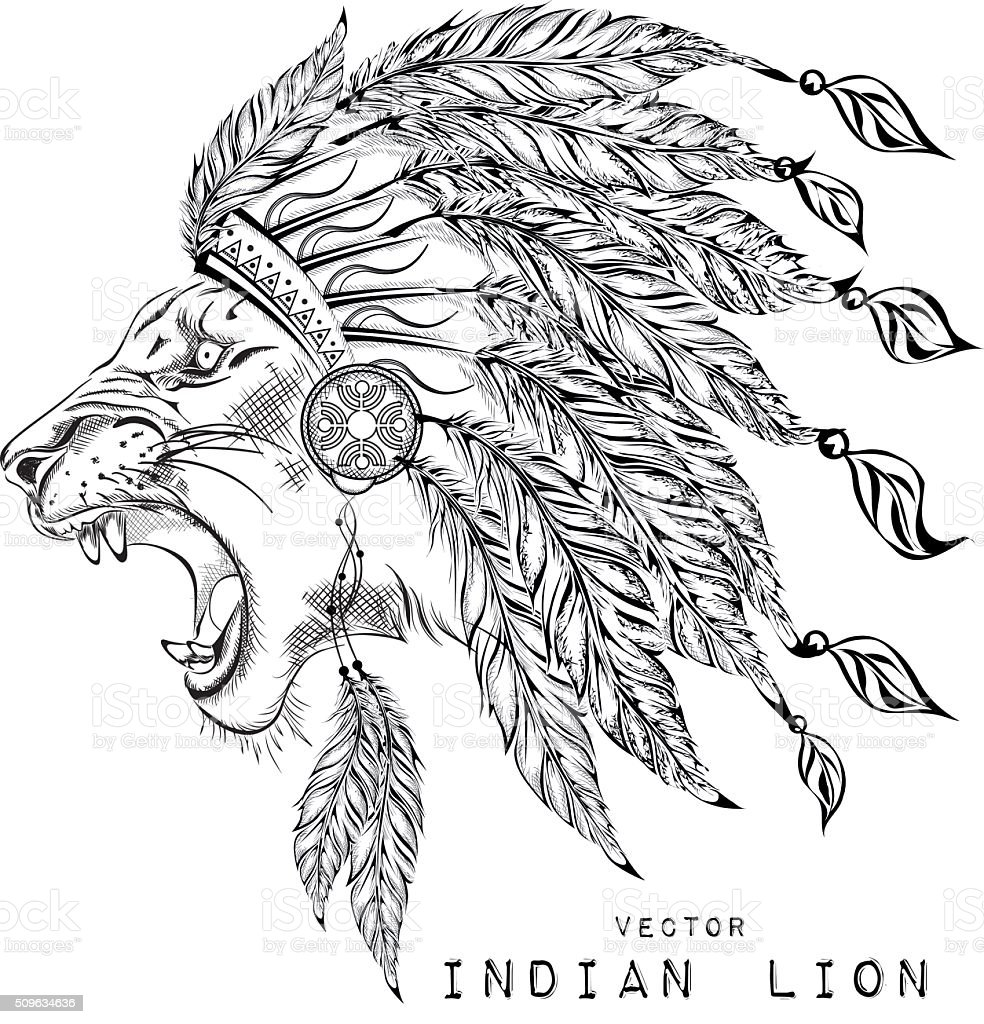 Lion In The Indian Roach Indian Feather Headdress Of Eagle Stock ...