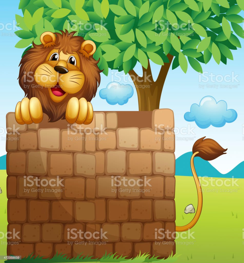Lion inside a pile of bricks royalty-free lion inside a pile of bricks stock vector art & more images of animal