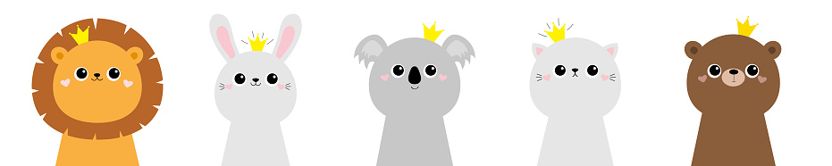 Lion koala bear cat bunny rabbit hare face head icon set. Scandinavian style. Golden crown. Cute kawaii cartoon funny baby character. Kids print poster, t-shirt. Love Flat White background