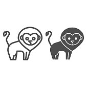 Lion line and solid icon. Minimalistic style silhouette of standing wild nature animal. Animals vector design concept, outline style pictogram on white background, use for web and app. Eps 10