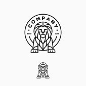 Lion Line Art Design Illustration Vector Template. Suitable for Creative Industry, Multimedia, entertainment, Educations, Shop, and any related business