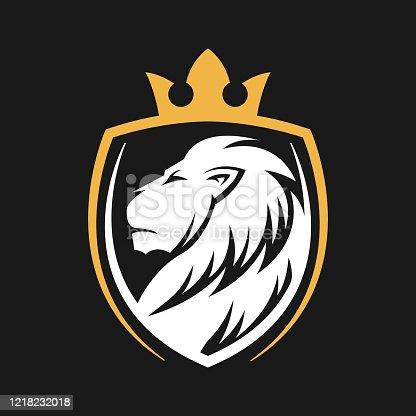 istock Lion Logo Vector Design Illustrator. Vintage Luxury Lion Head Logo Design Template. Abstract Lion Shield Logo Vector Design 1218232018