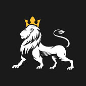istock Lion Logo Vector Design Illustrator. Vintage Luxury Lion Head Logo Design Template. Abstract Lion Shield Logo Vector Design 1218232134