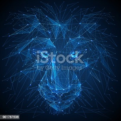 istock Lion low poly blue vector illustration 961787538