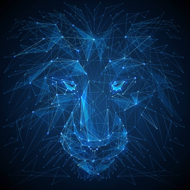 Lion low poly blue vector illustration Abstract vector image of lion. Lion's head Low poly wire frame illustration. Lines and dots. RGB Color mode. Wild animals concept. Polygonal art. lion stock illustrations
