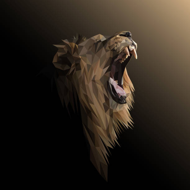 Lion low poly design. Triangle vector illustration. Lion low poly design. Triangle vector illustration. female animal stock illustrations