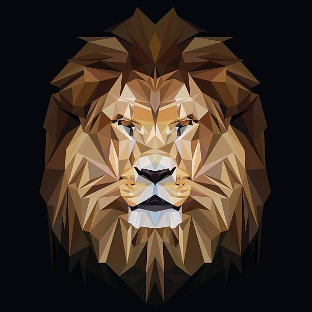 Lion low poly design vector art illustration