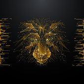lion low poly gold