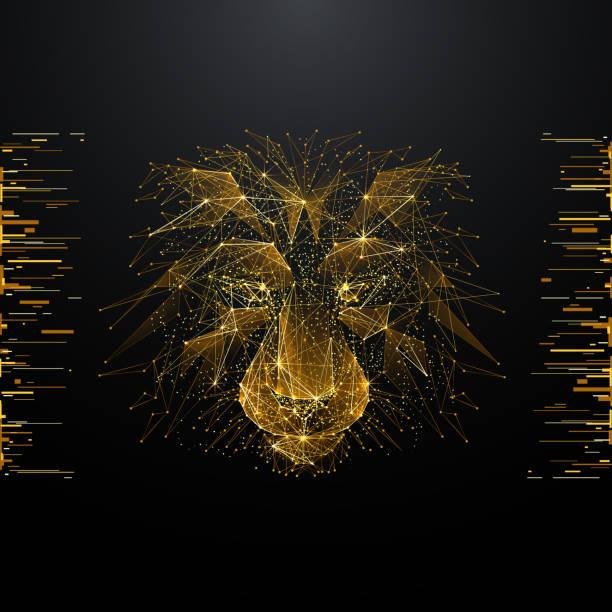 Löwe-low-Poly-gold – Vektorgrafik