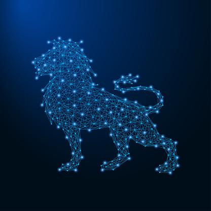 Lion made by points and lines, polygonal wireframe mesh, low poly animal illustration.