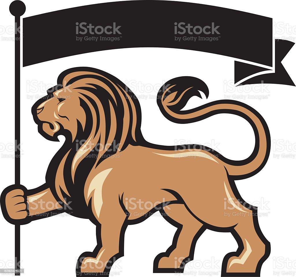 lion mascot hold a flag vector art illustration