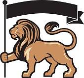 lion mascot hold a flag