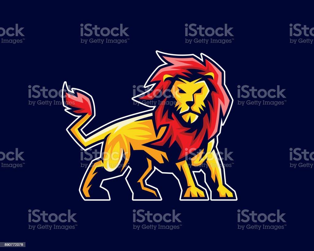 Löwen-Maskottchen, Sport-Symbol, Emblem oder Wappen Charakter-design – Vektorgrafik
