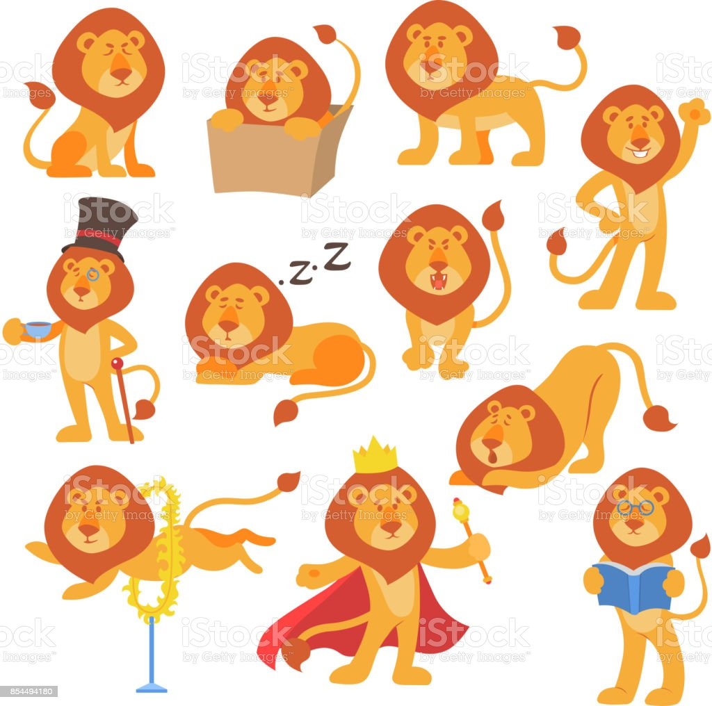 Lion mascotte pose heureux dessin animé mignon personnage sauvage safari mammifère chat jungle animale illustration vectorielle - Illustration vectorielle