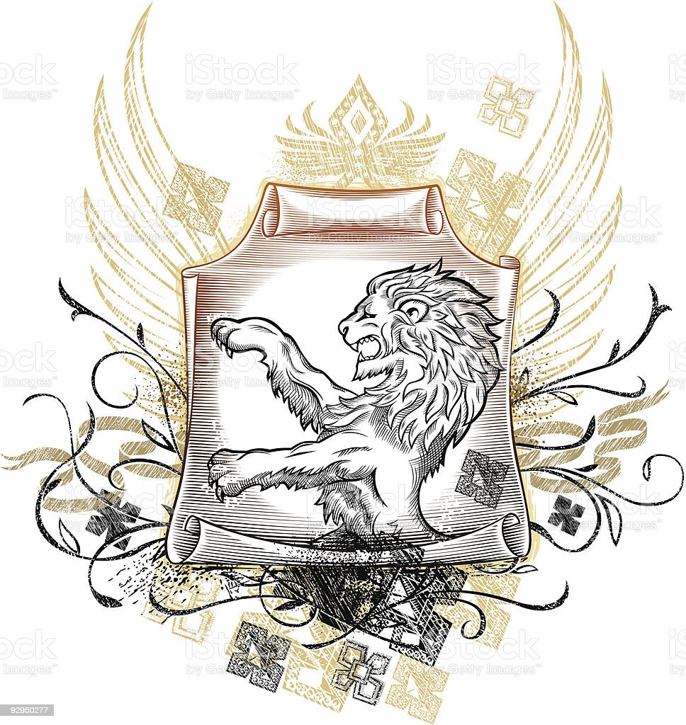 Lion Medieval Insignia vector art illustration