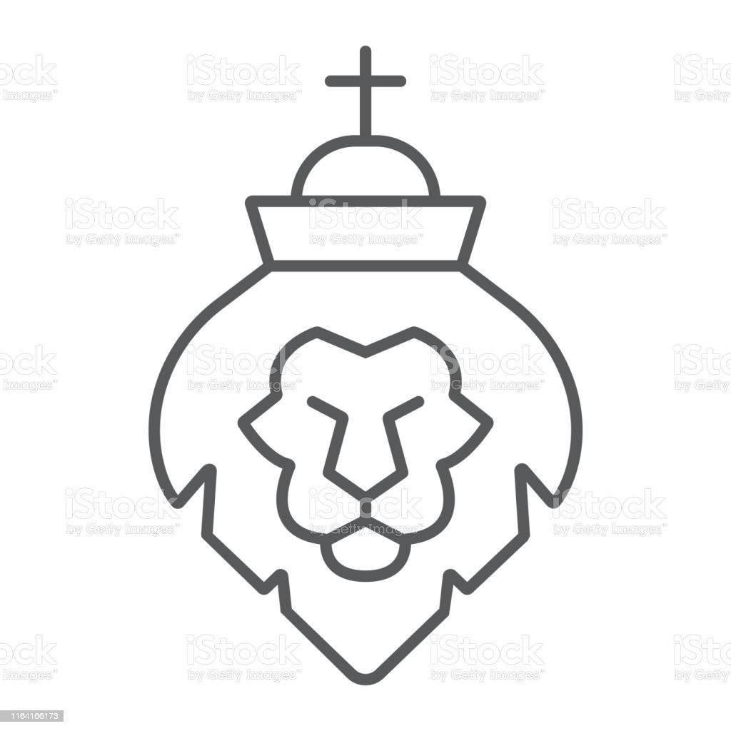Lion of judah thin line icon, religion and animal, lion head sign,...