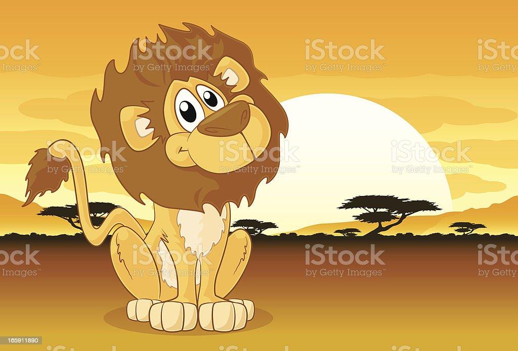 Lion on an african plain vector art illustration