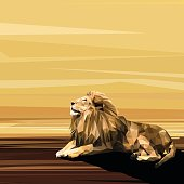 Lion on sun low poly design. Triangle vector illustration.